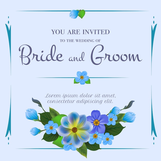 Wedding Invitation With Forget Me Nots On Light Blue Background Free Vector
