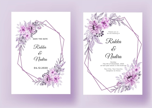 Wedding invitation with frame geometric flower pink pastel romantic Free Vector