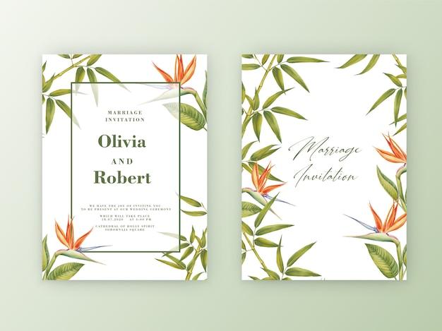 竹の水彩画ボタニカルイラストのフレームで結婚式の招待状。 Premiumベクター