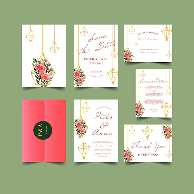 Wedding invitation with geometric greenery watercolor Premium Vector