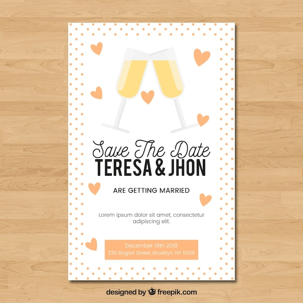 Wedding invitation with glasses toasting
