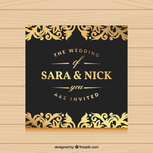 Wedding invitation with gold ornaments vector free download wedding invitation with gold ornaments free vector stopboris Image collections