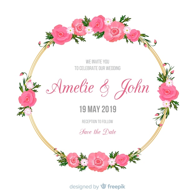Wedding invitation with golden floral frame Free Vector