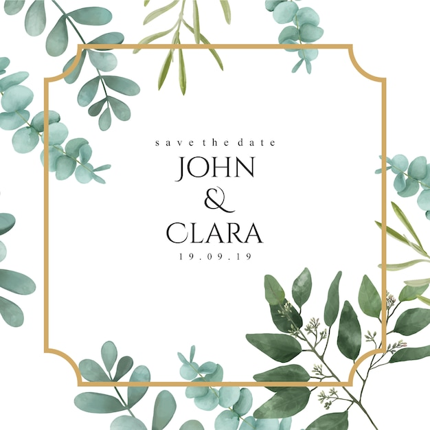 Wedding invitation with golden frame Premium Vector