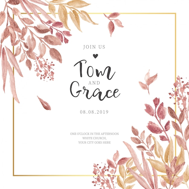 Wedding invitation with golden leaves and frame Free Vector