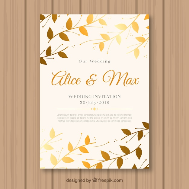 Wedding invitation with golden leaves vector free download wedding invitation with golden leaves free vector stopboris Images