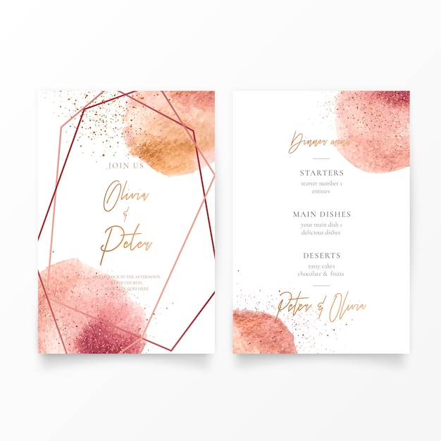 Wedding invitation with golden Free Vector