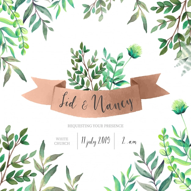 Wedding Invitation with Green Leaves Free Vector