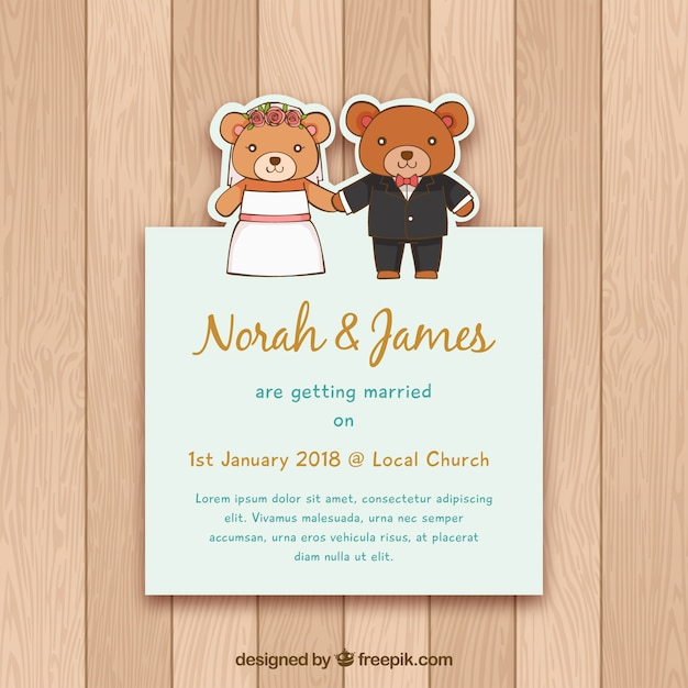 wedding invitation with hand drawn bears vector free download