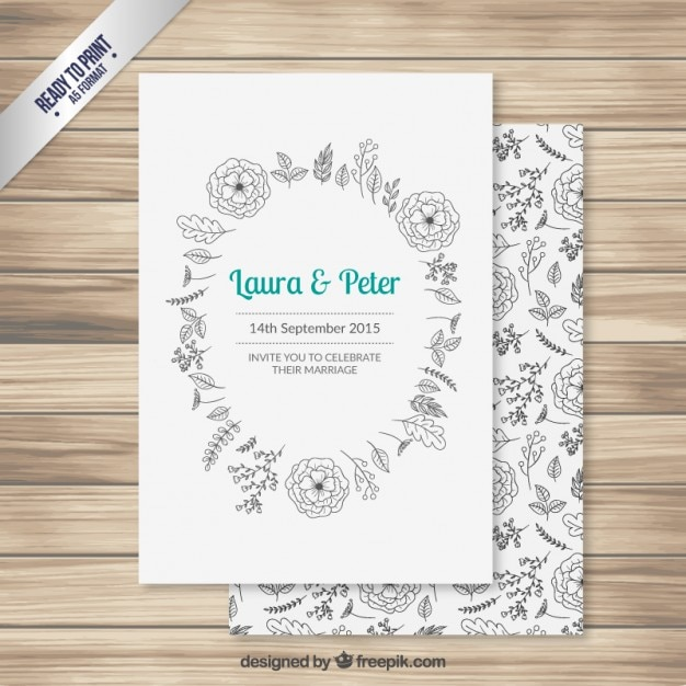 Wedding invitation with hand drawn flowers Vector | Free Download