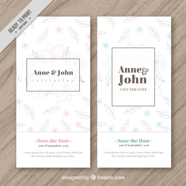 Wedding Invitation With Hand Drawn Leaves Vector