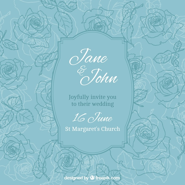 Wedding Invitation With Hand Drawn Roses Vector