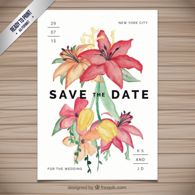 wedding invitation with hand painted flowers vector | free download, Wedding invitations