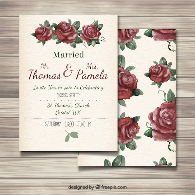 Wedding invitation with hand painted roses vector free download wedding invitation with hand painted roses free vector stopboris Image collections