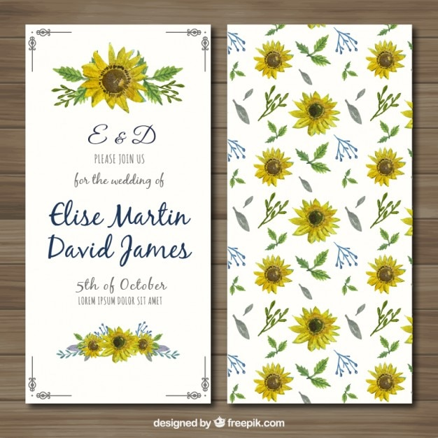 Wedding invitation with hand painted\ sunflowers