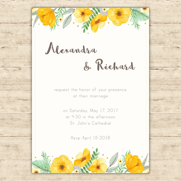 Wedding invitation with hand painted yellow flowers Free Vector