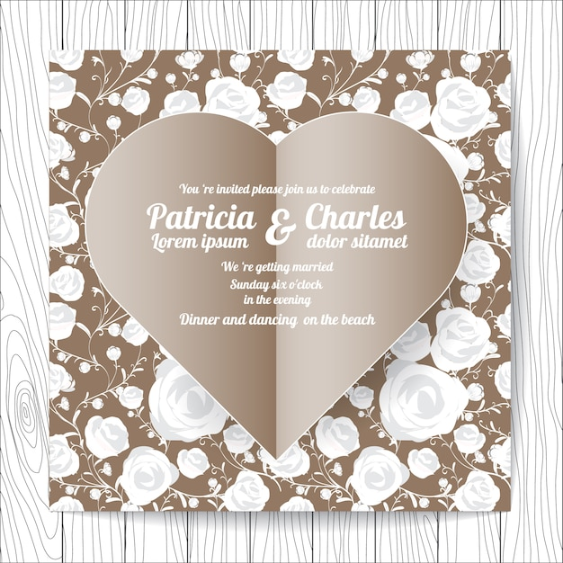 wedding invitation with heart design vector free download