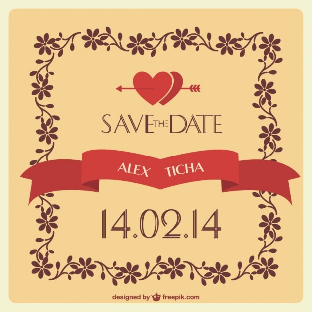 wedding invitation with hearts and floral frame free vector