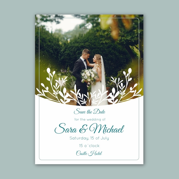 Wedding invitation with image template Free Vector