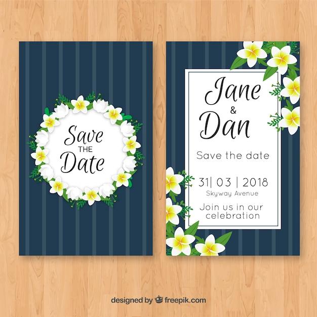 Wedding invitation with jasmine flowers Free Vector