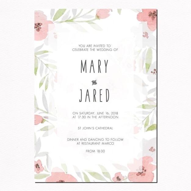 Wedding invitation with leaves and pink flowers vector free download wedding invitation with leaves and pink flowers free vector stopboris Images