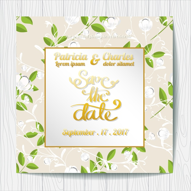 Wedding invitation with leaves background vector free download wedding invitation with leaves background free vector stopboris Image collections