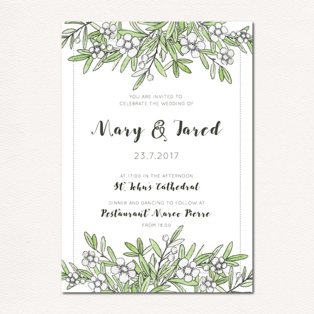 Wedding invitation with leaves and flowers Free Vector