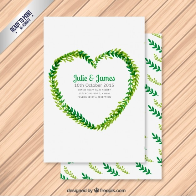 Wedding invitation with leaves in heart form vector free download wedding invitation with leaves in heart form free vector stopboris Images