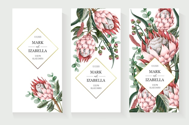 Wedding invitation with leaves, protea flowers, succulent and golden elements in watercolor style. Premium Vector