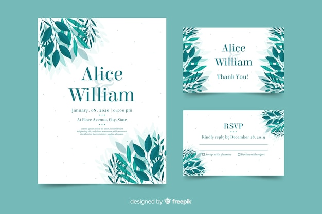 Wedding invitation with leaves template Free Vector
