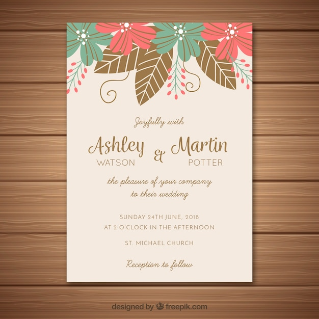 Wedding invitation with leaves vector free download wedding invitation with leaves free vector stopboris Images
