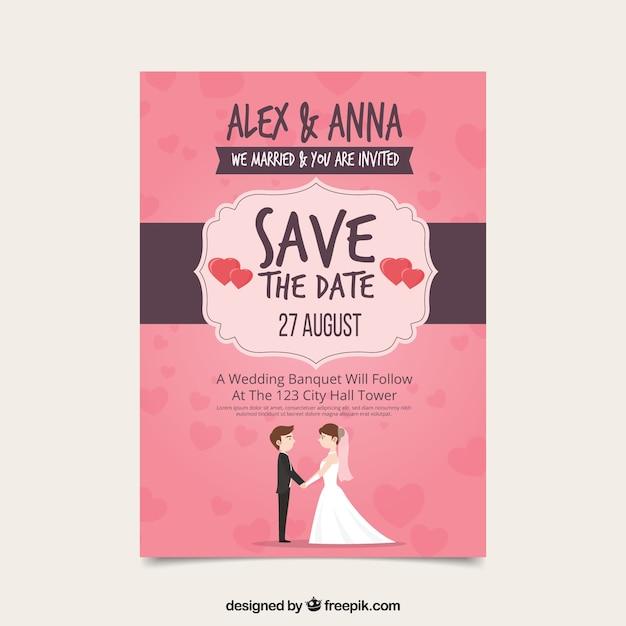 Wedding invitation with lovely couple vector free download wedding invitation with lovely couple free vector stopboris Gallery