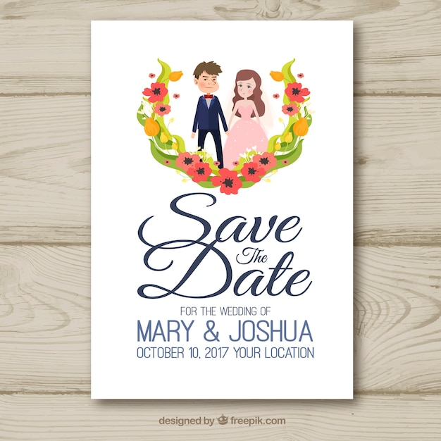 wedding invitation with lovely couple vector free download