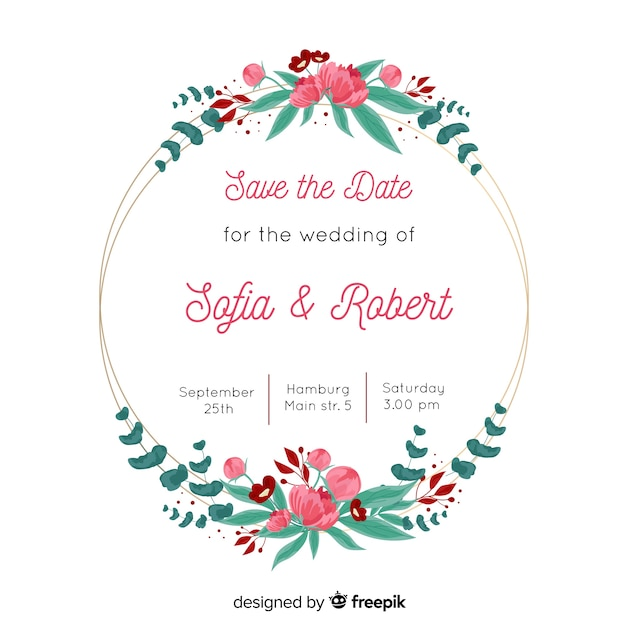 Wedding Invitation With Lovely Floral Frame Template Vector