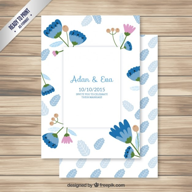 Wedding invitation with lovely flowers Free Vector