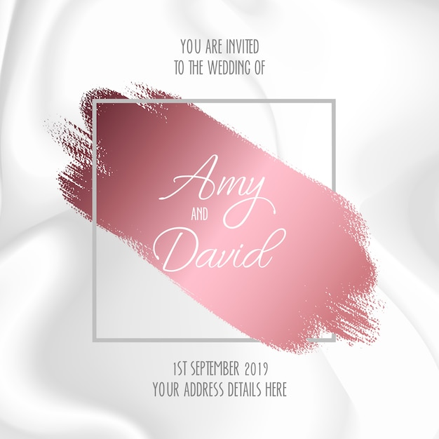 Wedding invitation with marble design Free Vector