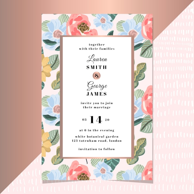 Wedding invitation with modern floral background Premium Vector