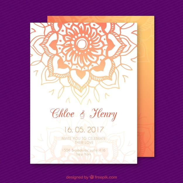 Wedding invitation with orange mandala vector free download wedding invitation with orange mandala free vector stopboris Images