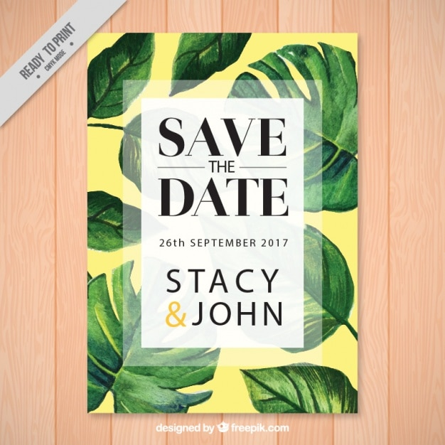 Wedding invitation with palm leaves vector free download wedding invitation with palm leaves free vector stopboris Images