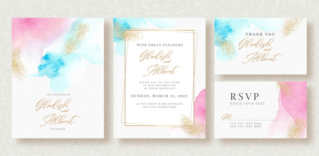 Wedding invitation with pastel colors splash and gold sparkle Premium Vector