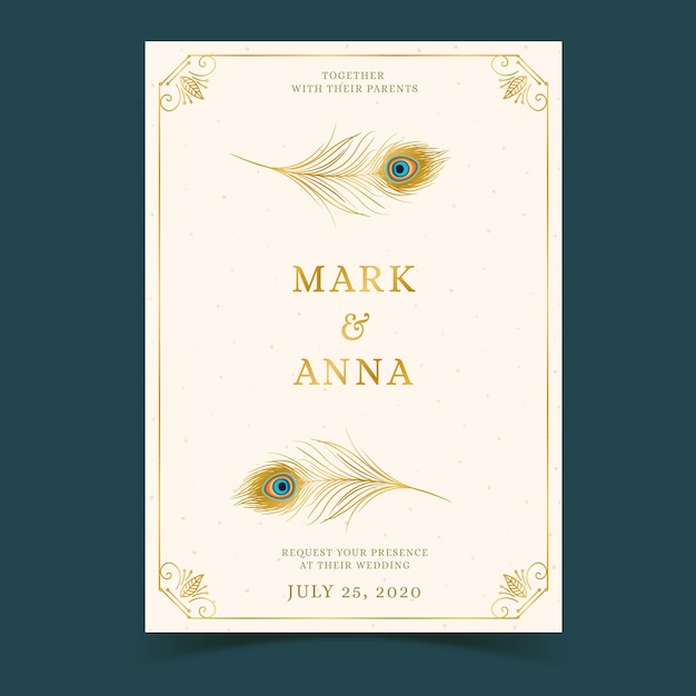 Wedding invitation with peacock feathers concept Premium Vector