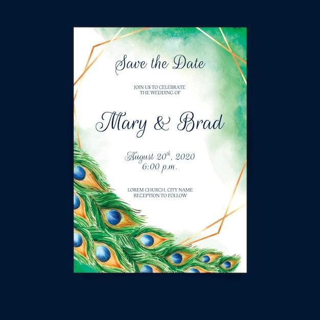 Wedding invitation with peacock feathers Premium Vector