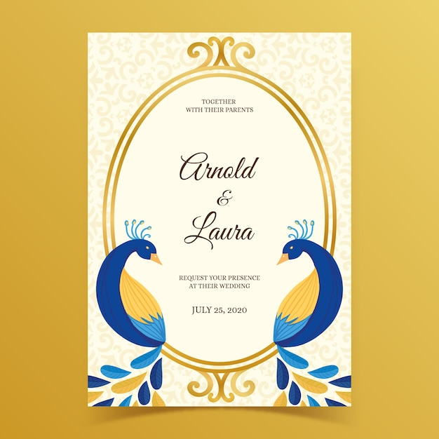 Wedding invitation with peacock feathers Premium Vector