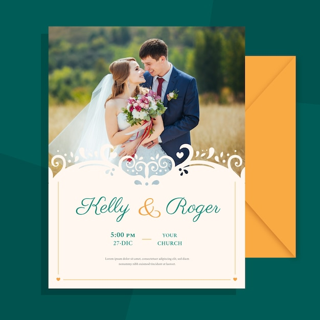 Wedding invitation with photo of married couple template Free Vector