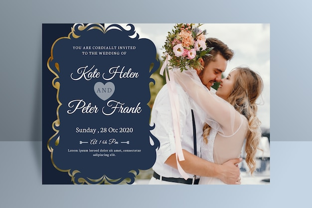 Wedding invitation with photo template Free Vector