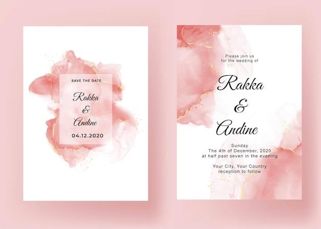 Wedding invitation with pink abstract alcohol ink Free Vector