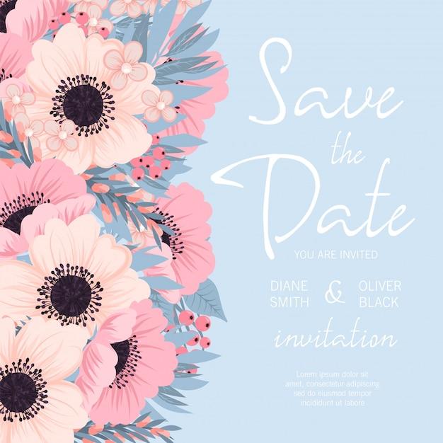 Download Pink Flower Wedding Vector Invitation Flowers: Wedding Invitation With Pink And Blue Flower Vector