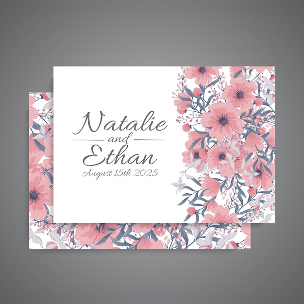 Wedding invitation with pink flower Free Vector