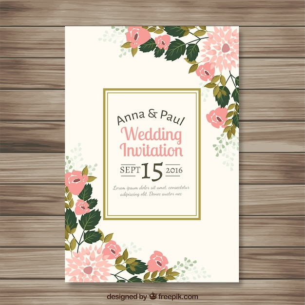 Wedding invitation with pretty floral details Free Vector