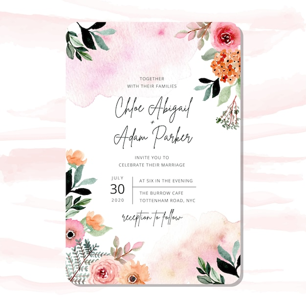 Wedding invitation with pretty watercolor floral frame Premium Vector
